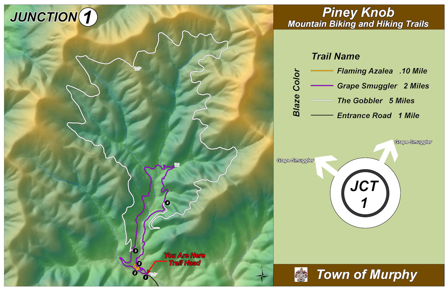 Piney Knob Trail Map - Murphy, NC